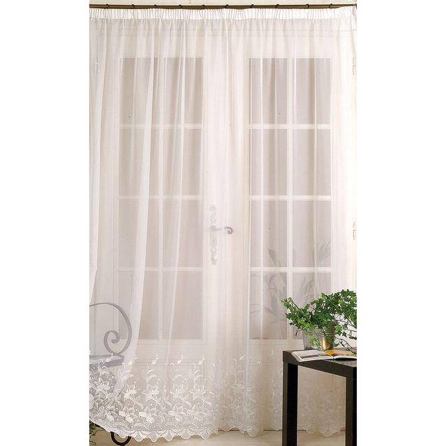homemaison voilage galon fronceur polyester broderie fleurs bas blanc molene 240x240cmnc. Black Bedroom Furniture Sets. Home Design Ideas