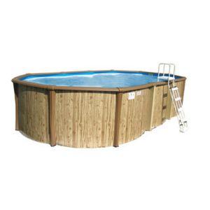 Sunbay piscine hors sol r sine t le ovale liner bleu for Piscine en tole