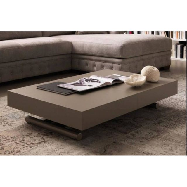 Inside 75 Table basse relevable extensible Block design taupe