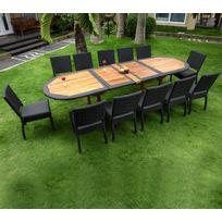 Wood-en-Stock - Salon de jardin en teck et résine grande taille 12 chaises
