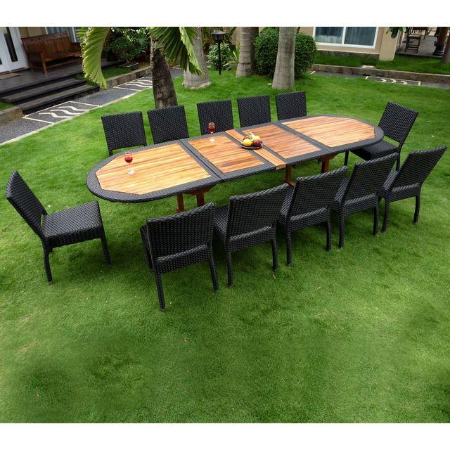 Wood-en-Stock - Salon de jardin en teck et résine grande taille 12 ...