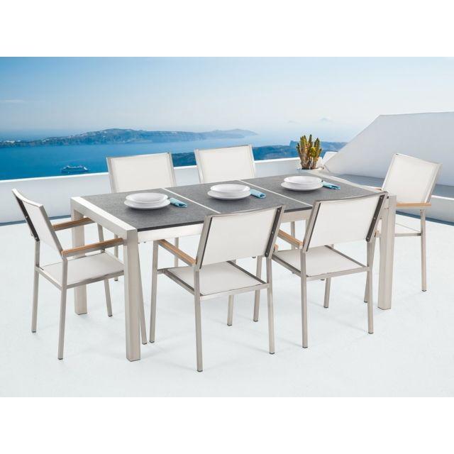 Table de jardin en plateau granit noir flambé 180 cm et 6 chaises blanches  GROSSETO