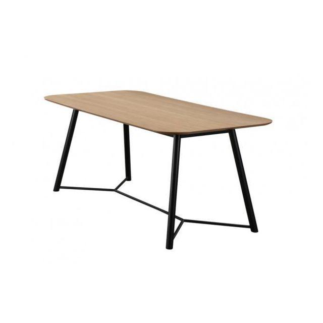 Declikdeco Table à manger Bois Noir 180cm Hourn