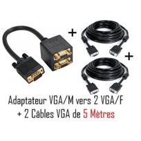 Cabling - Cable 1 Vga mâle vers 2 Vga femelle + 2 câbles Vga M/M 5 mètres