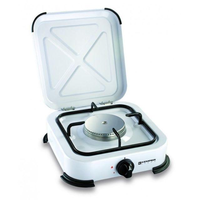 Kemper Plaque de cuisson gaz portable 1 feu - 1200 w - blanc laqué