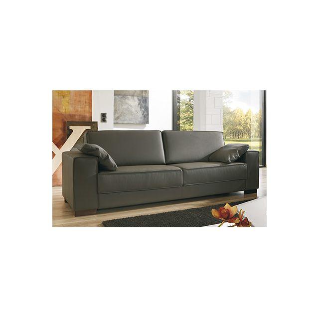 Canapé 3 places pieds bois avec ses 2 coussins - coloris chocolat