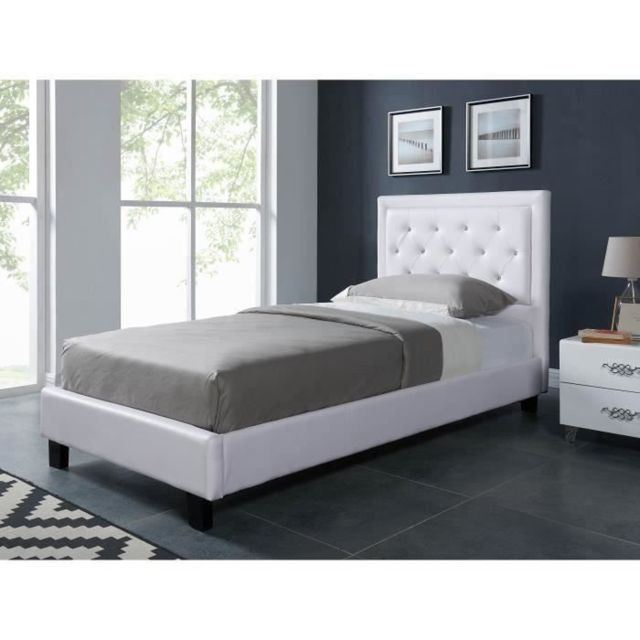 STRUCTURE DE LIT FILIP Lit enfant contemporain simili blanc - Sommier et tete de lit capitonnée inclus - l 90 x L 190 cm