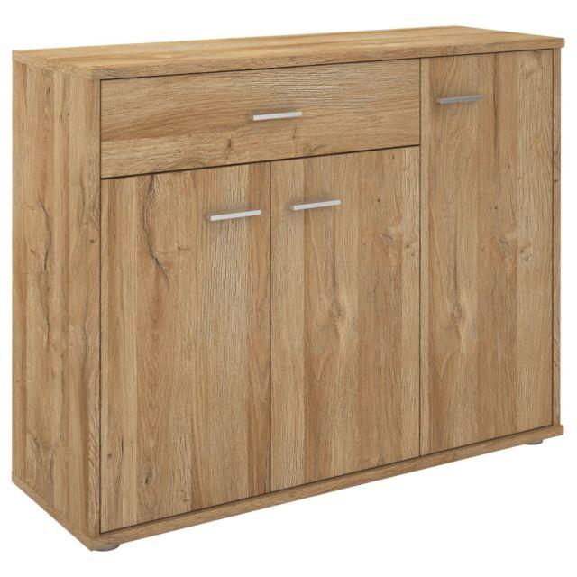 IDIMEX Buffet CORALINE, commode meuble de rangement avec 1 tiroir et 3 portes, en mélaminé décor chêne sauvage