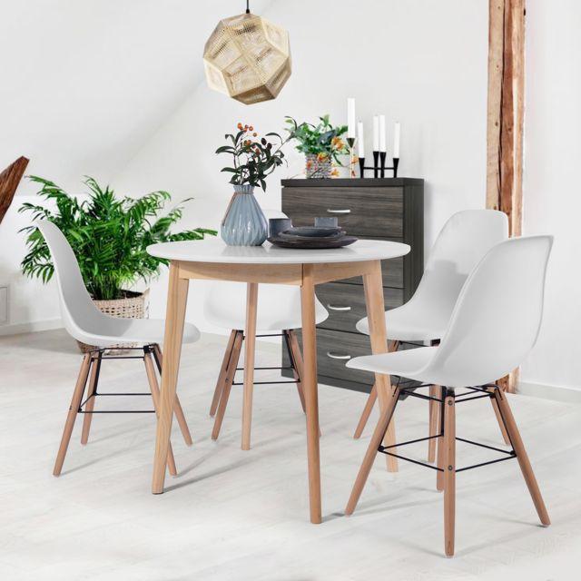 Urban Meuble Table de salle à manger blanche ronde