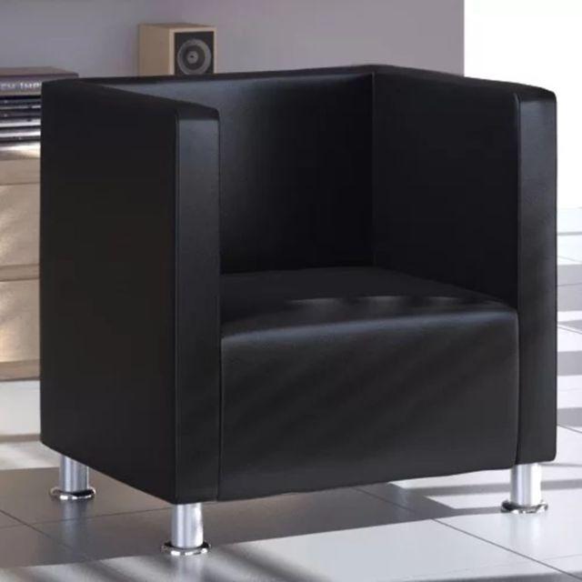 Chic Fauteuils reference Vientiane Fauteuil Design de cube Cuir synthétique Noir