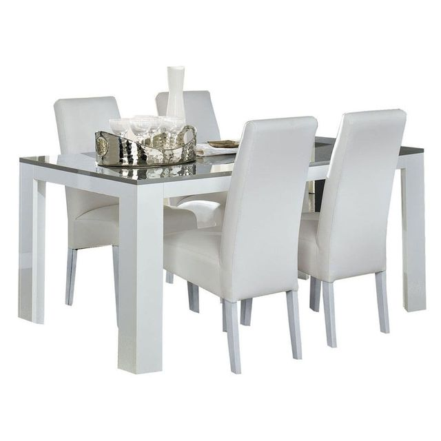 COMFORIUM - Table salle à manger 190cm blanc et gris laqué ...