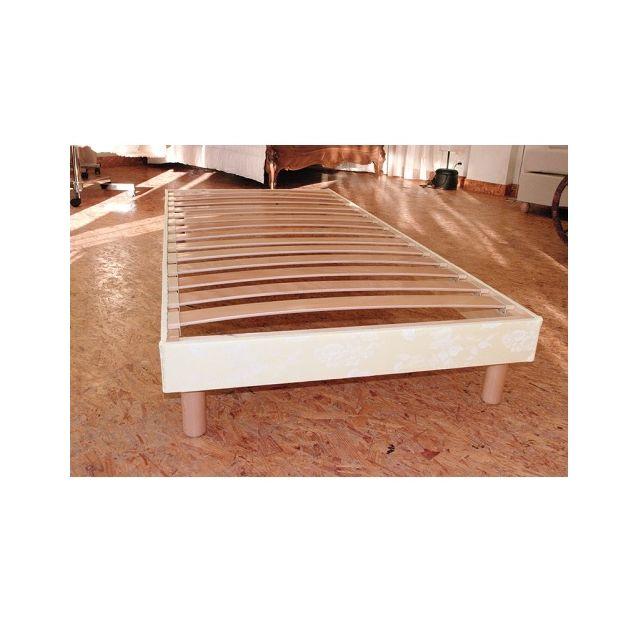 Literie Artisanale Sommier parementé pin et hêtre 3 tailles, Taille sommier : 90 x 190 cm