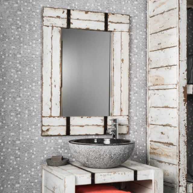 Wanda Collection Miroir de salle de bain en Mindi 60x80 Loft blanc