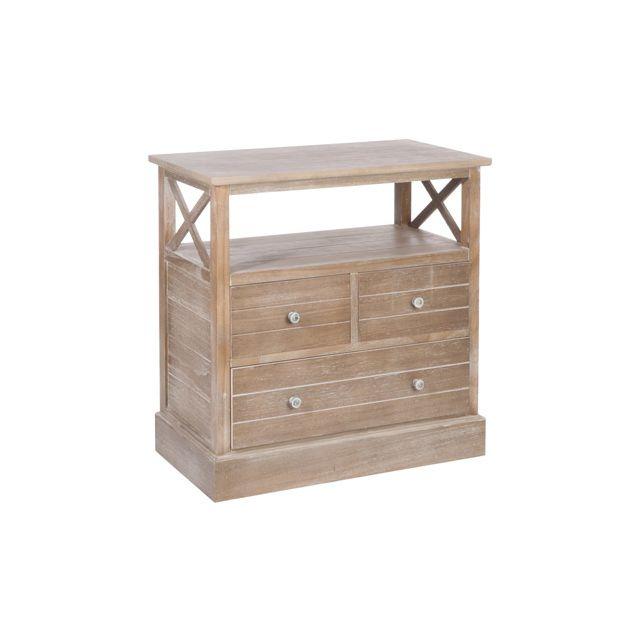 Commode 3 tiroirs en bois - coloris naturel 70x40x72cm