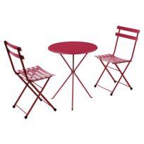 Oasi by Emu - Salon de jardin 2 personnes en acier et tôle pleine: chaises + 1 table pliantes Gueridon/RAINBOW