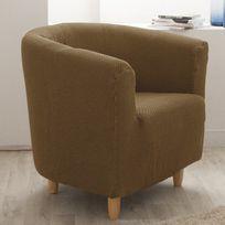 Comptoir Des Toiles - Housse de fauteuil cabriolet/club unie bi-extensible coton/polyester Lisa