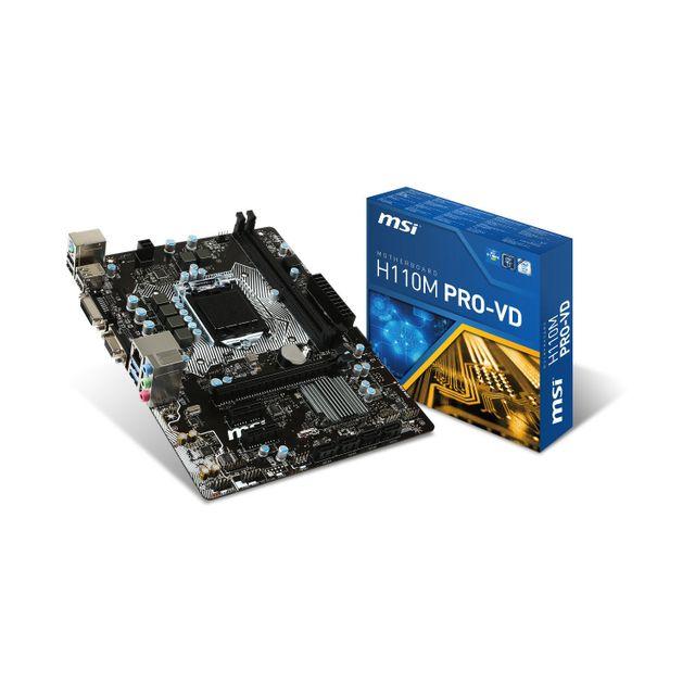 msi carte m re h110m pro vd chipset h110 socket 1151 dans le rayon socket lga 1151 intel h110. Black Bedroom Furniture Sets. Home Design Ideas