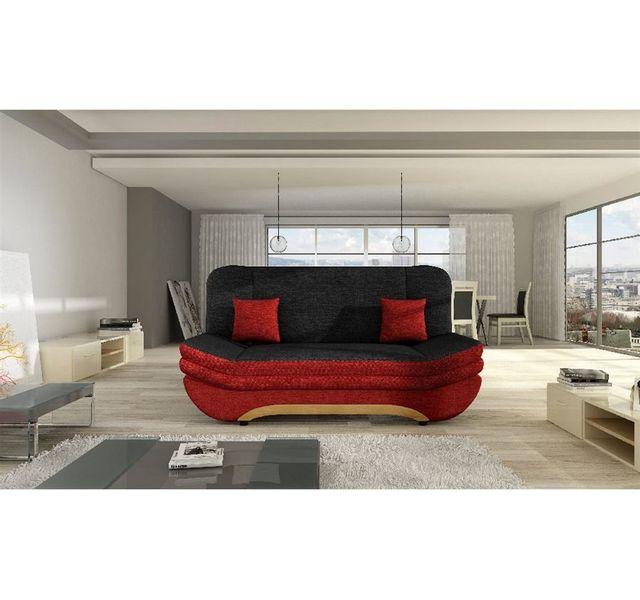 Chloe Design Canapé 3 places en tissu Lalita Ii - Noir et Rouge