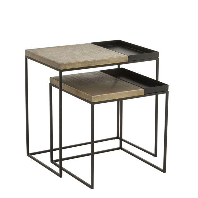 Tousmesmeubles Tables gigognes Métal noir/or - Nimegue
