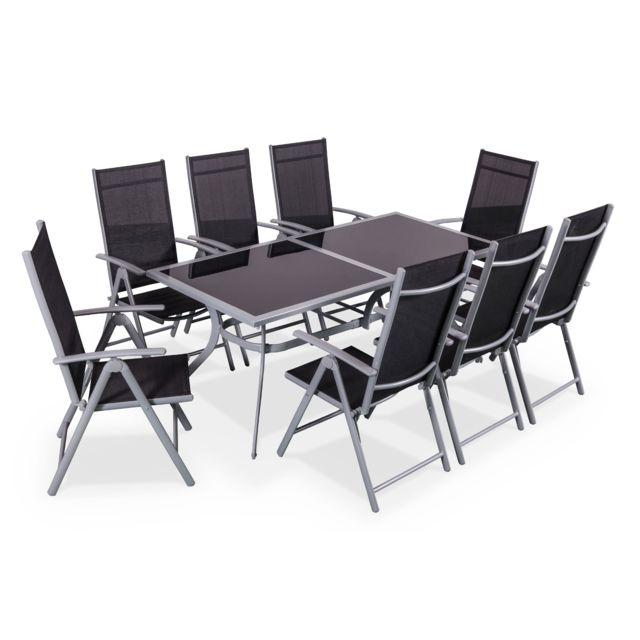 Alice\'s Garden - Salon de jardin en aluminium table 8 places gris ...