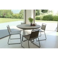 Salon de jardin en teck teinté, comprenant 1 table à manger ronde et 2 lots  de 2 chaises empilabes bois et métal