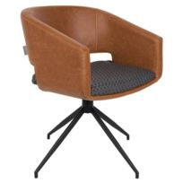 Inside 75 - Zuiver Chaise Beau revêtement polyuréthane façon cuir marron design scandinave
