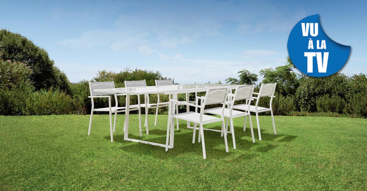 CARREFOUR - Salon de jardin Sofia - Table avec allonge et 6 ...