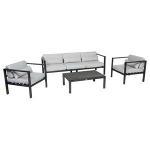 Hespéride - Salon de jardin Figari - 5 Places - Aluminium Gris - pas ...