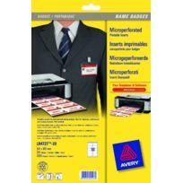 Avery - Boîte de 200 bristols micro perforés 190/m en planche A4 pour badges 5,4x9 cm