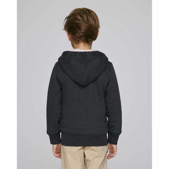 Hoodie sherpa zippé enfant coton bio col capuche noir de carbone 12 14 ans Courchevel