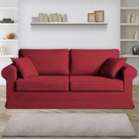 Home Spirit - Canapé 3 places fixes - 100% coton - coloris griotte Adele