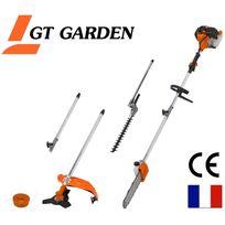 Gt Garden - Elagueuse thermique 4 en 1 : tronçonneuse - débroussailleuse - taille-haies avec 2 rallonges