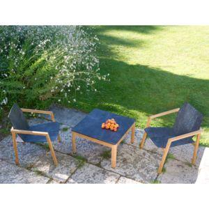 Les Jardins - Salon de jardin 2 personnes avec table basse teck 70 ...