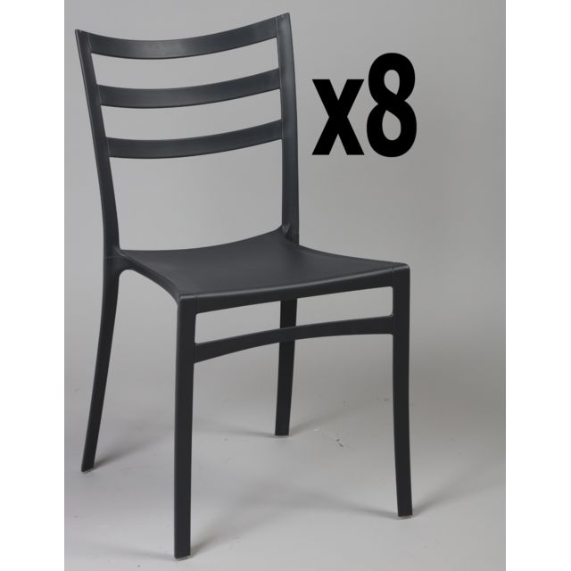 Lot de 8 chaises en polypropylène de couleur noire, Ht860 x Ht Ass460 x L510 x l470 mm