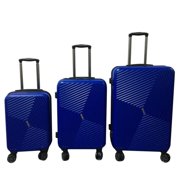 CARREFOUR - Lot de 3 Valises rigides striées - 56, 66 et 76 cm - Bleu - BOX37ABS8WBLUE