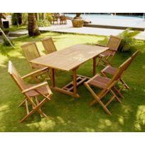 Kajang 6 rectangle: table rectangle 6 personnes + 4 chaises + 2 fauteuils
