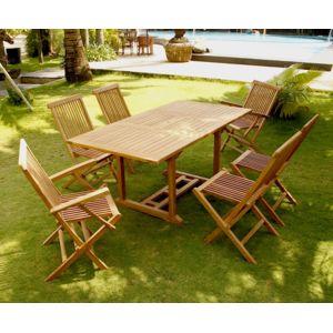 Concept Usine - Kajang 6 rectangle: table rectangle 6 personnes + 4 chaises + 2 fauteuils Bois - 6 places