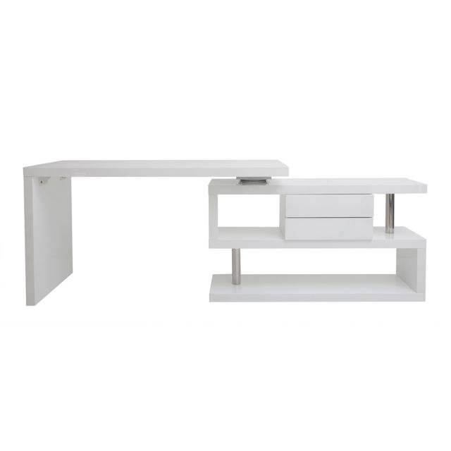 Miliboo Bureau design modulable avec rangement 2 tiroirs amovible blanc laqué Max