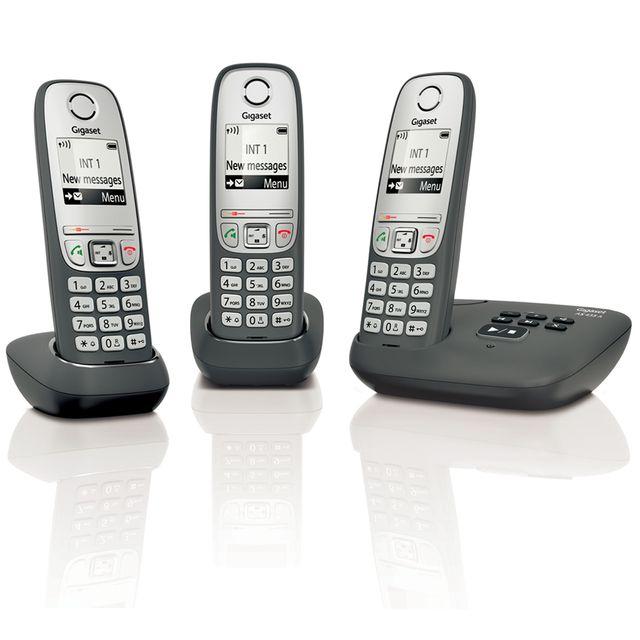 GIGASET - Téléphone fixe sans fil avec répondeur - AS435 A - Trio Noir