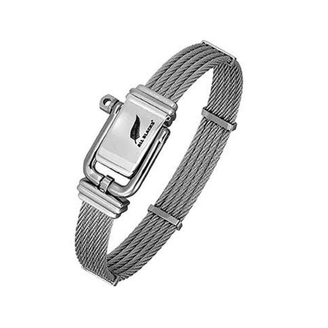All Blacks Bracelet En Acier Avec 5 Câbles Argentés