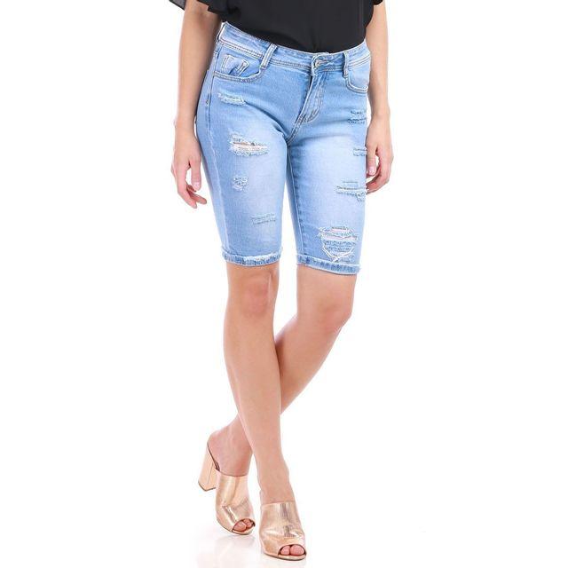 Lamodeuse - Bermuda en jean bleu déchiré effet délavé - pas cher ... 0e7ca55dced