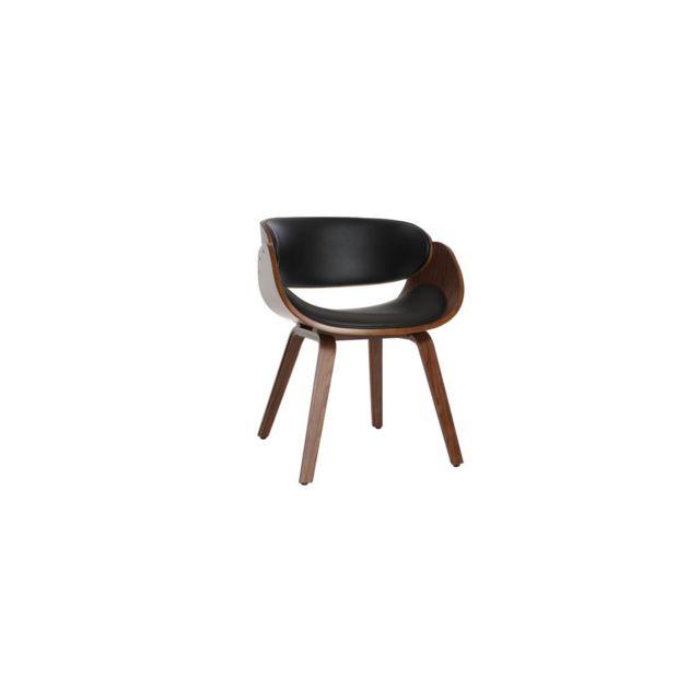 Miliboo Chaise design noir et bois foncé noyer Bent