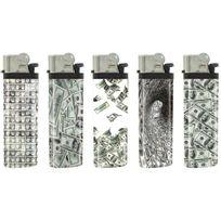 """Belflam - Cg1 - Le lot de 5 briquets design """"`Dollars"""