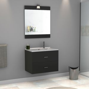creazur meuble salle de bain simple vasque rosa 80 gris brillant coloris fa ade pas cher. Black Bedroom Furniture Sets. Home Design Ideas