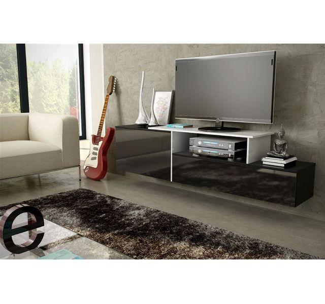 CHLOE DESIGN Meuble tv suspendu MACIG - noir et blanc