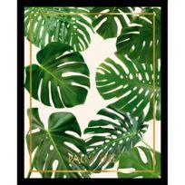 G&C Interiors - Cadre décoratif feuille tropicale Cériman vert en bois Mdf et verre Tropisk