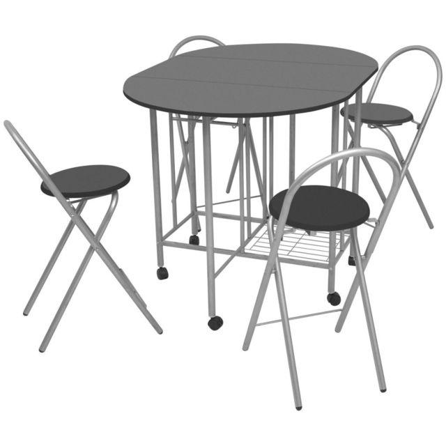 Vidaxl Ensemble de Salle à Manger Pliable Table et Chaises 5 pièces Mdf Noir