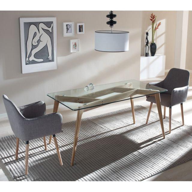 Tousmesmeubles Table de repas Verre/Frêne - Samba