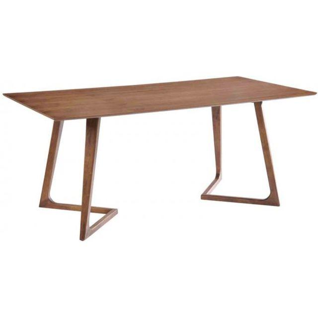 Declikdeco - Table en bois hévéa Kenyu noyer naturel 180cm