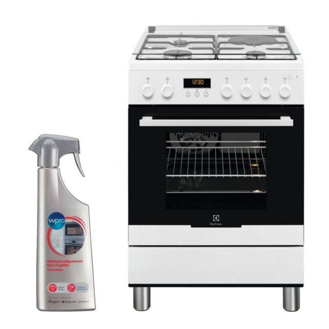 Electrolux Cuisiniere Mixte blanc 60x60cm Four Pyrolyse 54L Multifonction chaleur tournante